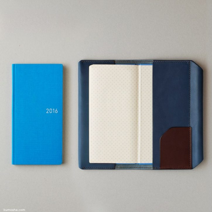 "kumosha's hand stitched leather note cover ""hobonichi weeks"""