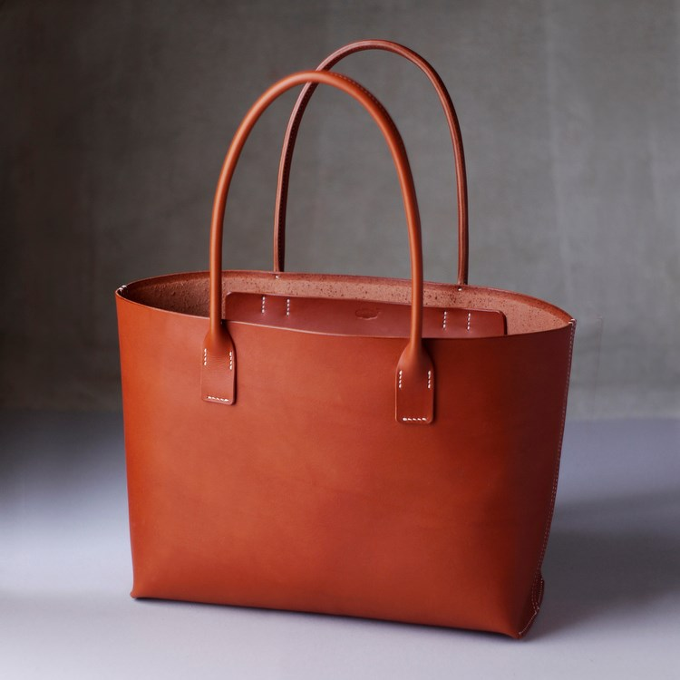 kumosha's hand stitched leather tote bag