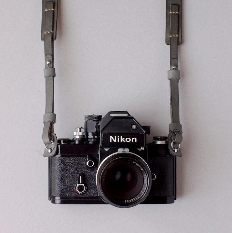 kumosha's hand stitched leather camera strap belt with nikon F2