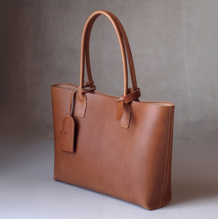 kumosha hand stitched leather tote bag 2 slim