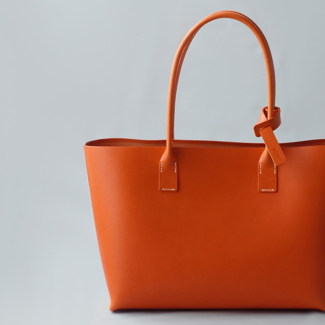 """kumosha hand stitched leather tote bag """"Orange"""""""