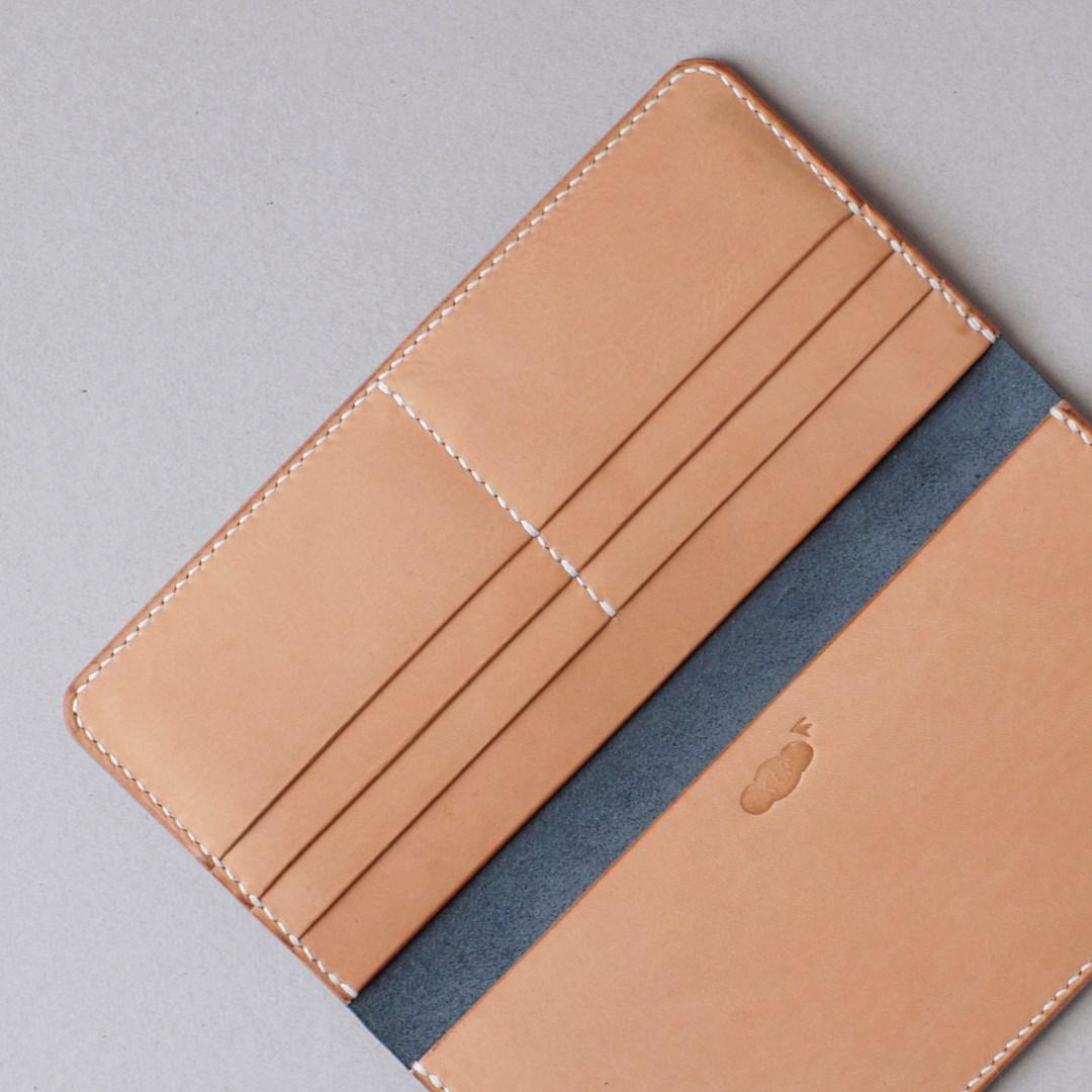 kumosha hand stitched leather long wallet navy