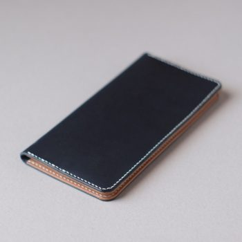 kumosha hand stitched leather long wallet navy