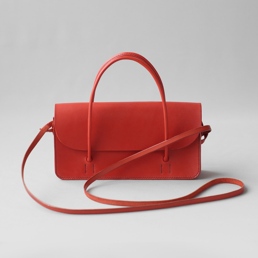 kumosha hand stitched leather hand bag mimi-tsuki