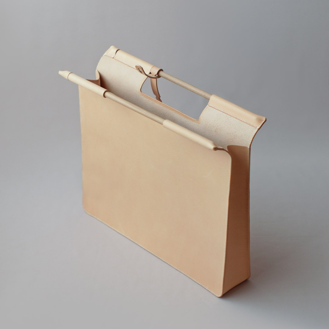 kumosha hand stitched leather document bag A3