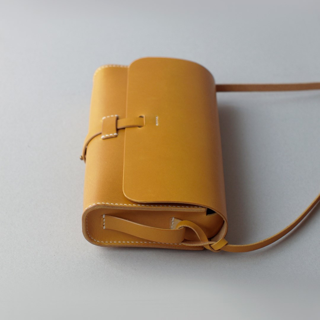 """kumosha hand stitched leather shoulder bag """"mimi-tsuki"""" yellow"""