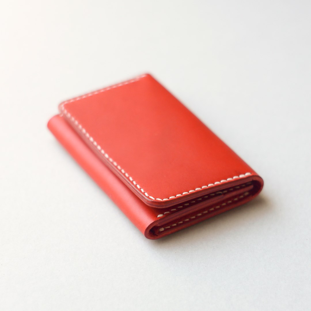 kumosha hand stitched leather card case type 03 red
