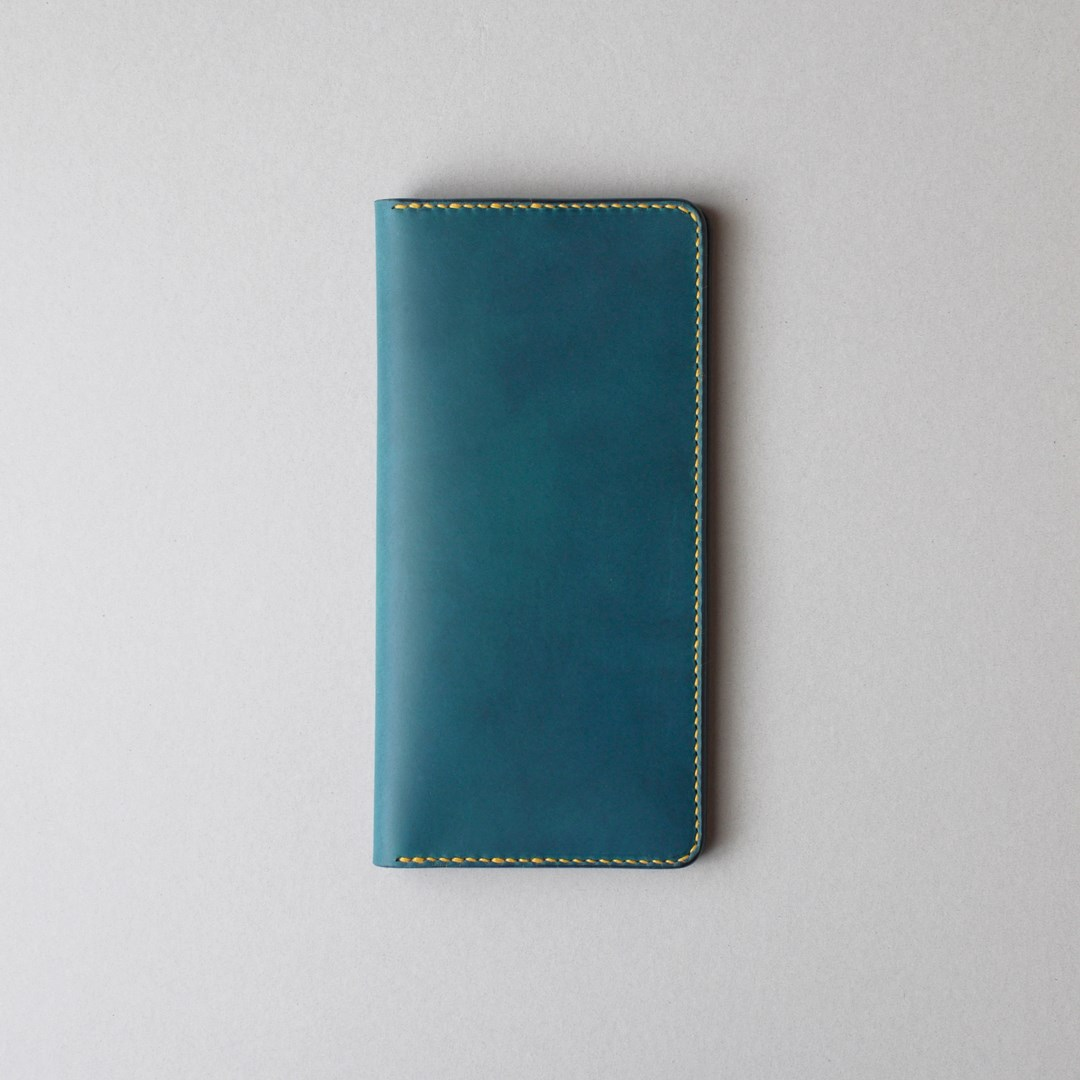 kumosha hand stitched leather long wallet type 01 blue and yellow stitch