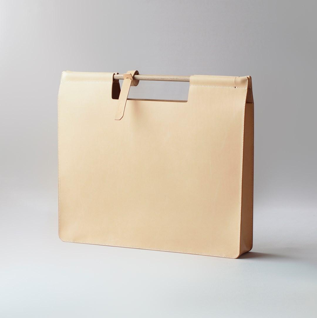 leather document case A3 with teak wood handle photographer artists portfolio presentation case