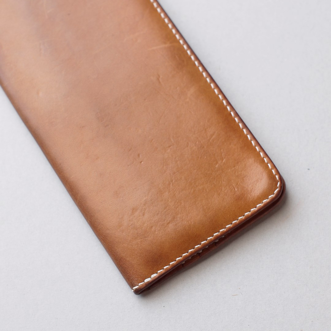 kumosha hand stitched leather long wallet type1