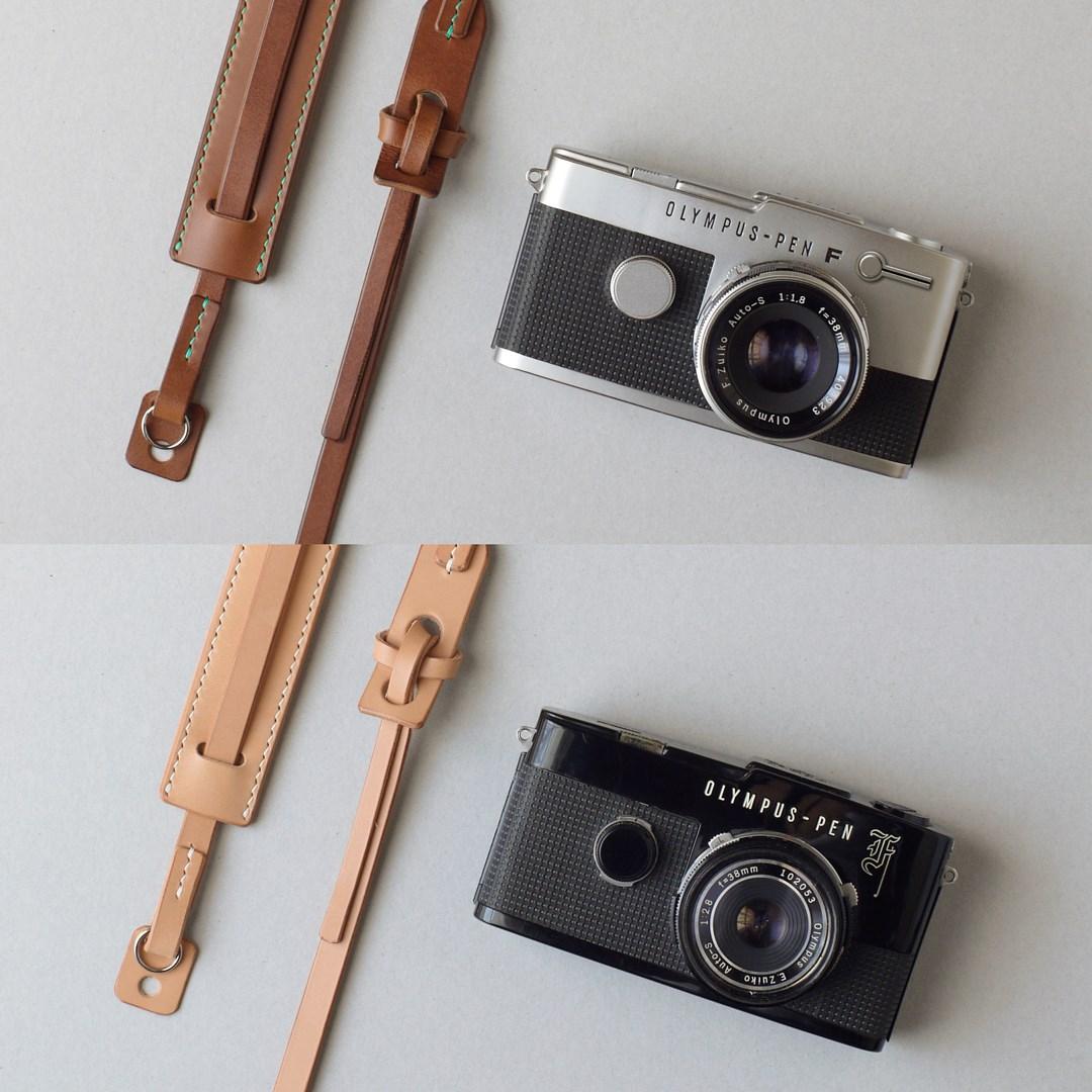生成りとキャメルのカメラストラップをつくる―その2―