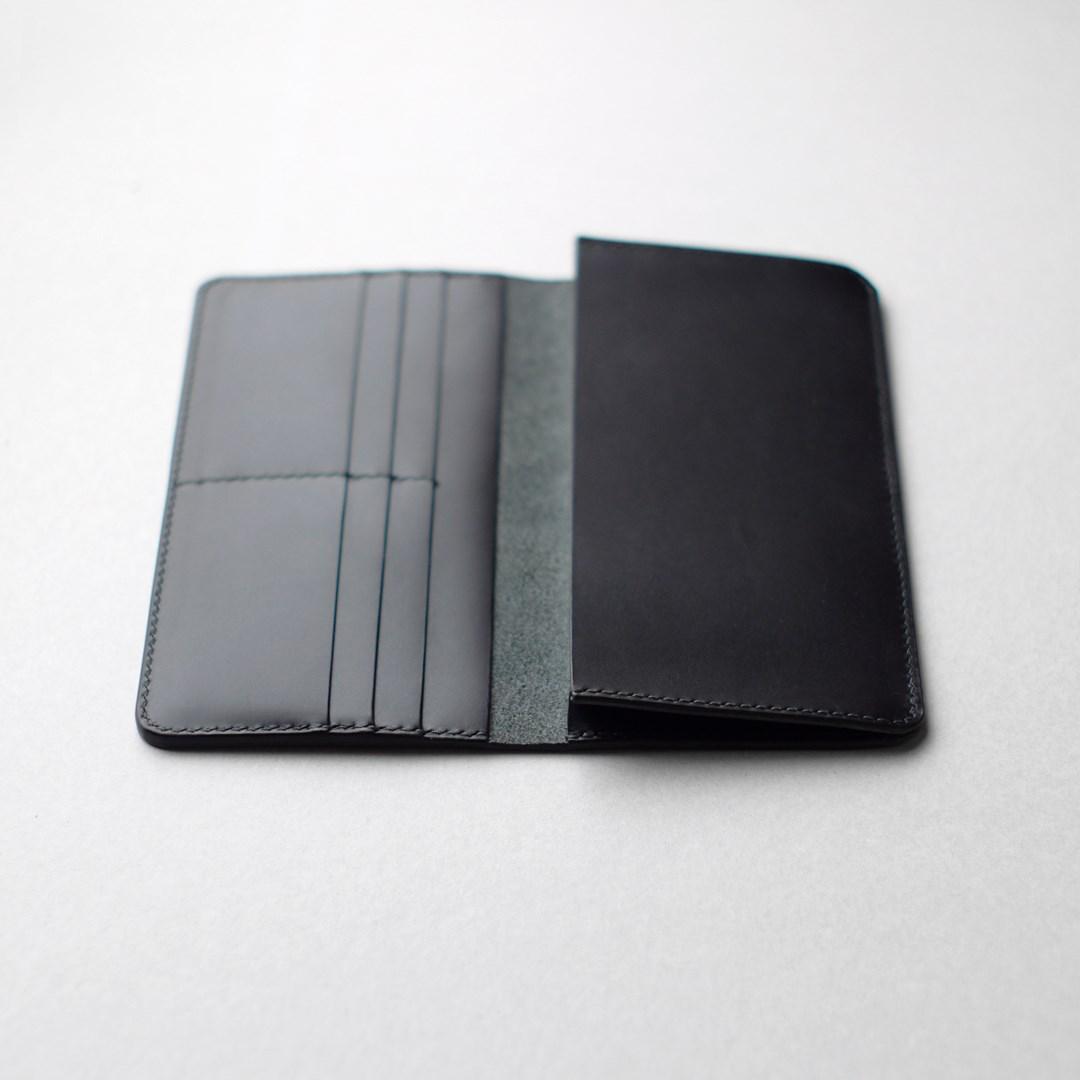 kumosha hand stitched leather long wallet type1