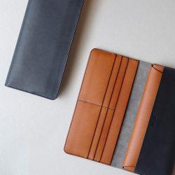 紺とコニャックの長財布2型が完成しました