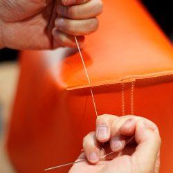オレンジ色の手縫いトートバッグ2型をつくる(本体)