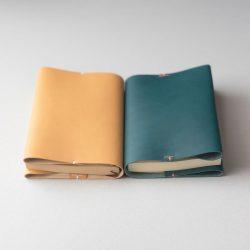 生成りと碧のブックカバー1型文庫サイズをつくる