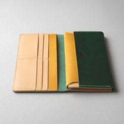 緑と黄と生成りの長財布2型が完成しました