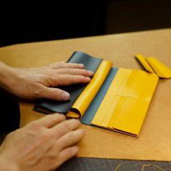紺と黄の長財布2型をつくる その1